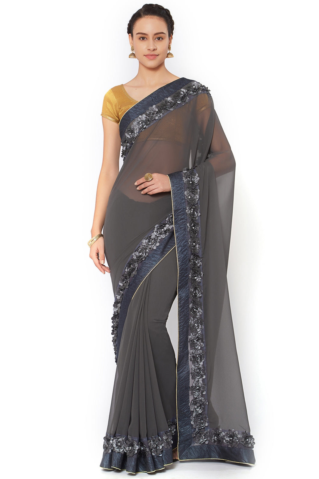 Bhelpuri Grey Georgette Lace Border Party Wear Saree with Blouse Piece