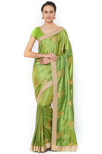 Bhelpuri Green Silk Embroidered Party Wear Saree with Blouse Piece