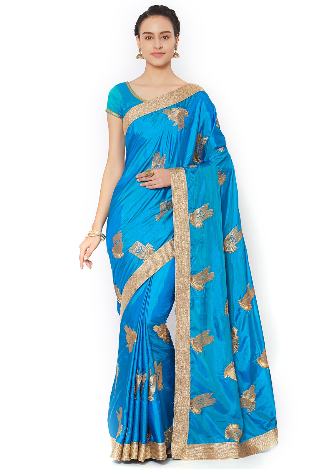 Bhelpuri Blue Silk Embroidered Party Wear Saree with Blouse Piece