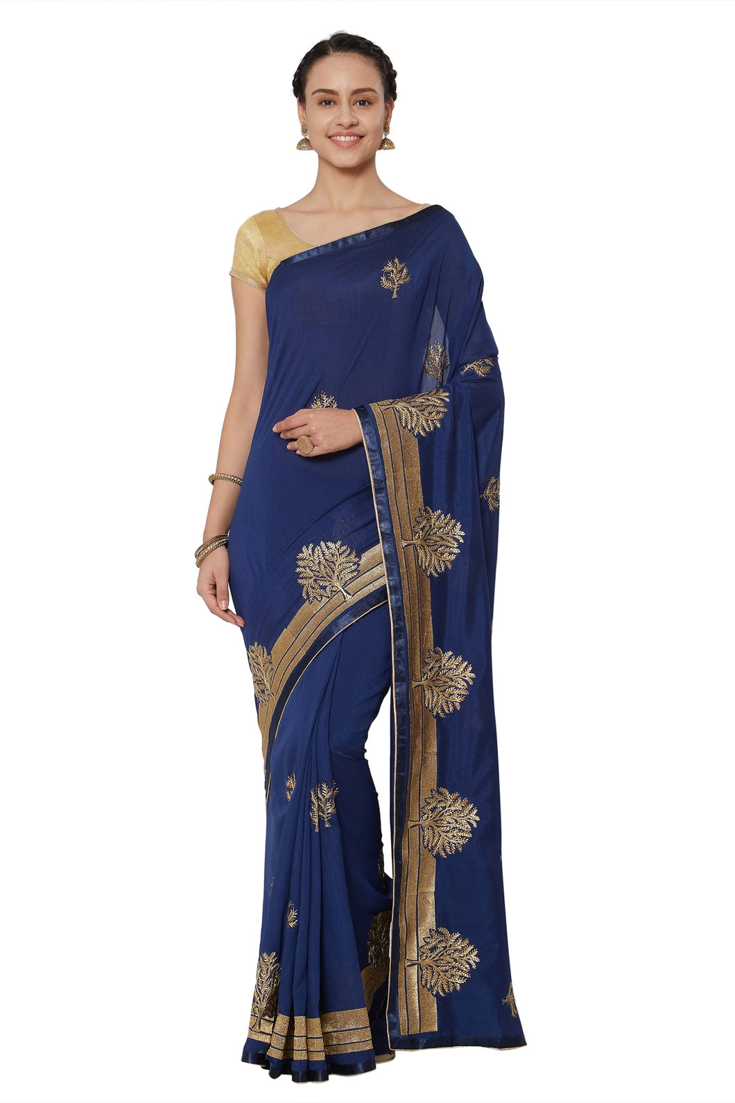 Bhelpuri Navy Blue Georgette Embroidered Party Wear Saree with Blouse Piece