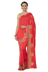 Bhelpuri Peach Georgette Embroidered Party Wear Saree with Blouse Piece