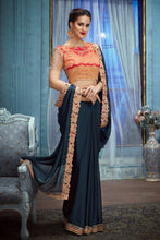 Load image into Gallery viewer, Bhelpuri Dark Blue Banglori Silk Embroidered Saree with Blouse Piece