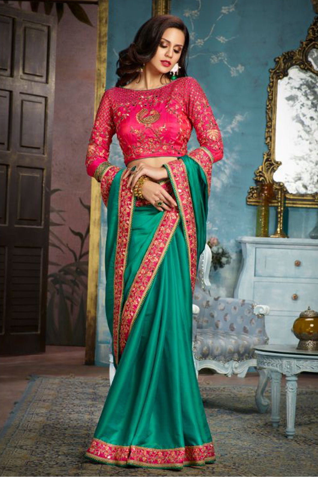 Bhelpuri Green Banglori Silk Embroidered Saree with Blouse Piece