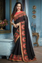 Load image into Gallery viewer, Bhelpuri Black  Banglori Silk Embroidered Saree with Blouse Piece