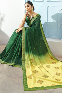Bhelpuri Green & Yellow Chiffon Saree
