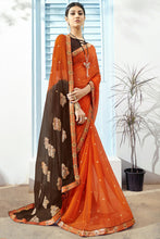 Load image into Gallery viewer, Bhelpuri Orange & Brown Chiffon Saree