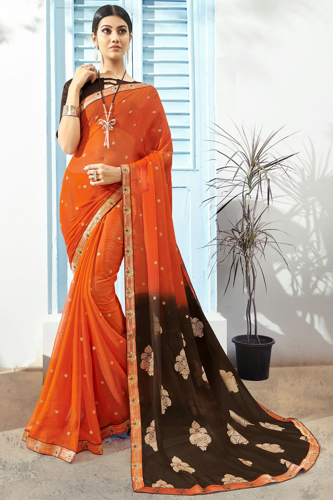 Bhelpuri Orange & Brown Chiffon Saree