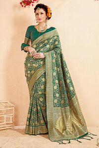 Bhelpuri Green Banarasi Art Silk Designer Zari Woven Saree with Silk Blouse Piece