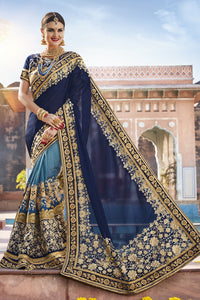 Bhelpuri Blue Georgette & Net Embroidered Designer Party Wear Saree with Embroidered Banglori Silk Blouse Piece