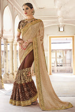 Load image into Gallery viewer, Bhelpuri Brown & Beige Georgette And Raw Silk Embroidered Designer Party Wear Saree with Embroidered Banglori Silk Blouse Piece