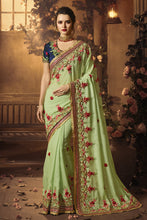 Load image into Gallery viewer, Bhelpuri Light Green Georgette Zari Resham Embroidered Designer Saree with Blouse Piece