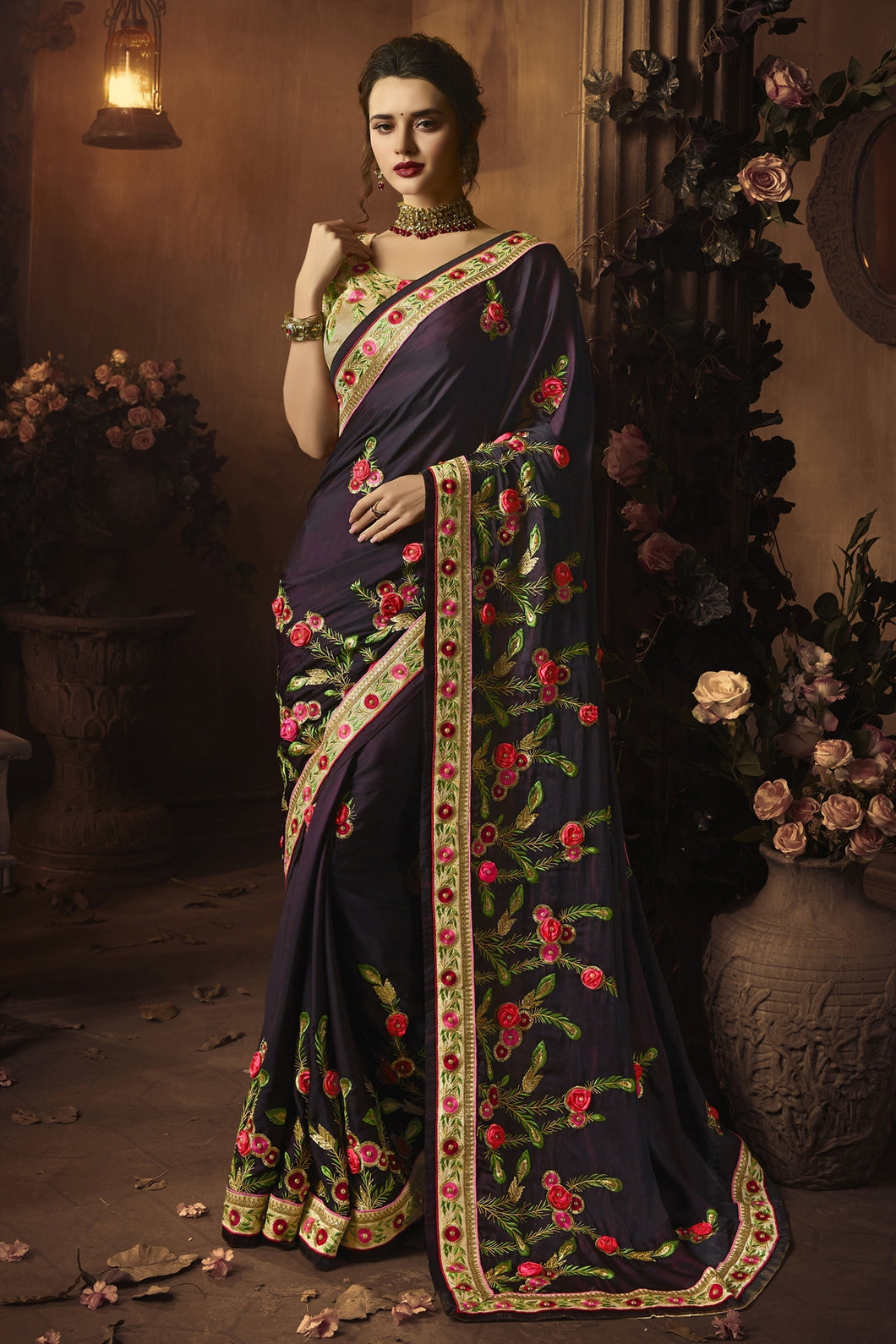 Bhelpuri Dark Purple Silk Zari Resham Embroidered Designer Saree with Blouse Piece