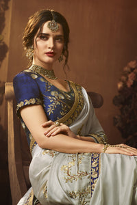 Bhelpuri Light Grey Silk Zari Resham Embroidered Designer Saree with Blouse Piece