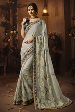 Load image into Gallery viewer, Bhelpuri Light Grey Silk Zari Resham Embroidered Designer Saree with Blouse Piece