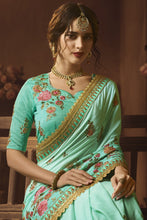 Load image into Gallery viewer, Bhelpuri Aqua Green Silk Zari Resham Embroidered Designer Saree with Blouse Piece