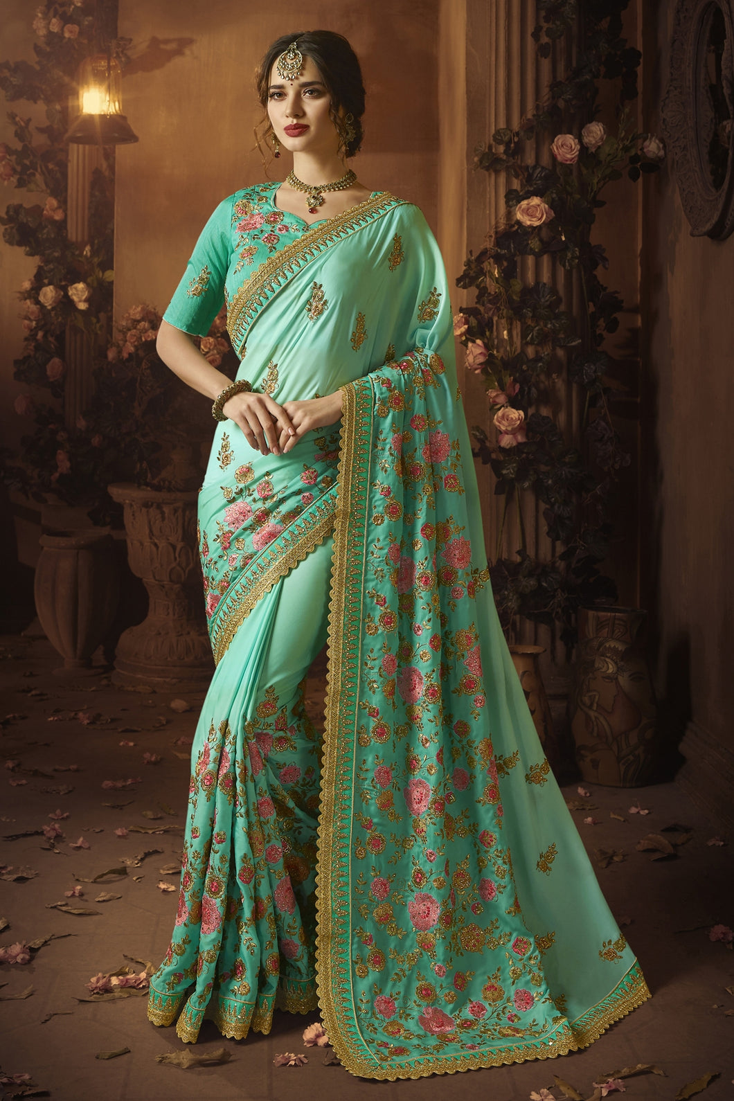 Bhelpuri Aqua Green Silk Zari Resham Embroidered Designer Saree with Blouse Piece