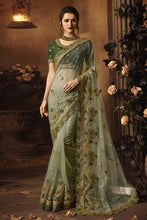 Load image into Gallery viewer, Bhelpuri Light Green Net Zari Resham Embroidered Designer Saree with Blouse Piece