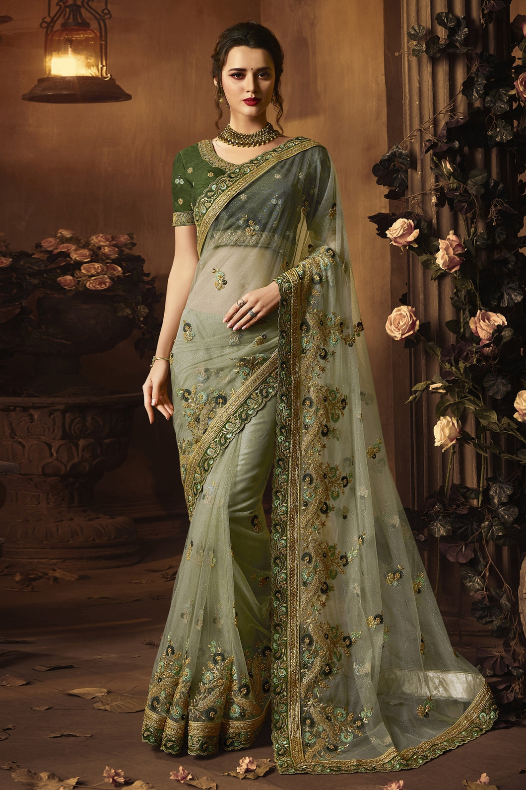 Bhelpuri Light Green Net Zari Resham Embroidered Designer Saree with Blouse Piece