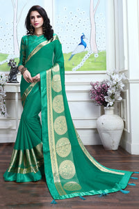 Bhelpuri Green Silk Printed Lace Border Party Wear Saree with Blouse Piece