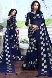 Bhelpuri Navy Blue Silk Printed Lace Border Party Wear Saree with Blouse Piece
