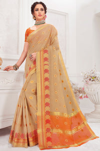 Bhelpuri Cotton Silk Beige Woven Saree with Blouse Piece