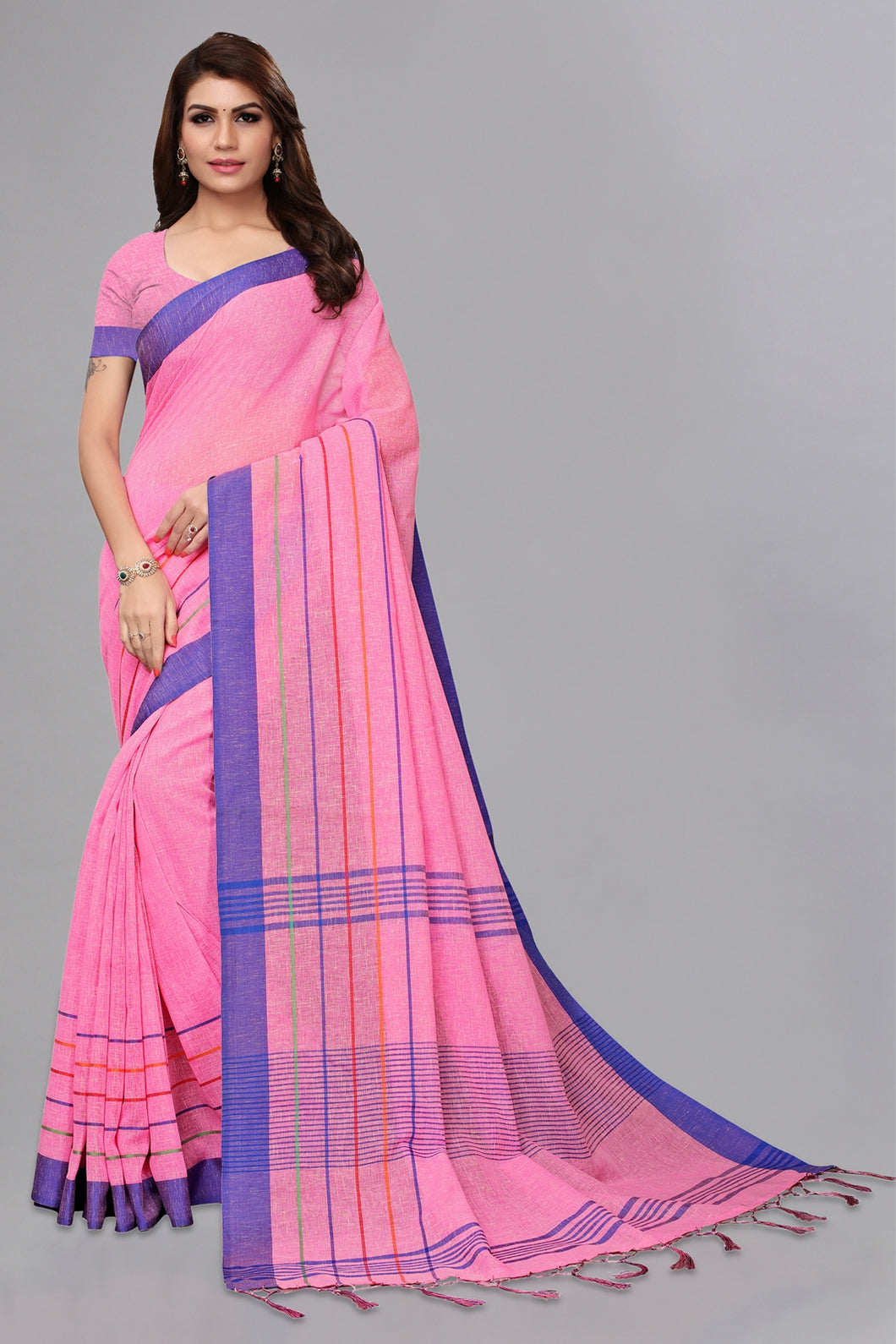 Bhelpuri Baby Pink Casual Wear Linen Saree with Blouse Piece