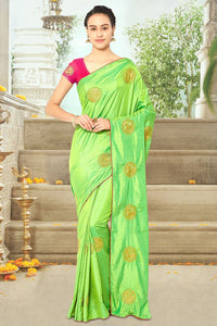 Bhelpuri Contrast Green Silk Embroidered Designer Party Wear Saree with Cotton Silk Blouse Piece