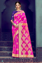 Load image into Gallery viewer, Bhelpuri Magenta Banarasi Silk Saree