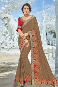Bhelpuri Brown Georgette Embroidered Lace Border Designer Party Wear Saree with Embroidered Raw Silk Blouse Piece