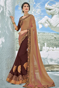 Bhelpuri Gold and Brown Georgette Embroidered Lace Border Designer Party Wear Saree with Embroidered Raw Silk Blouse Piece