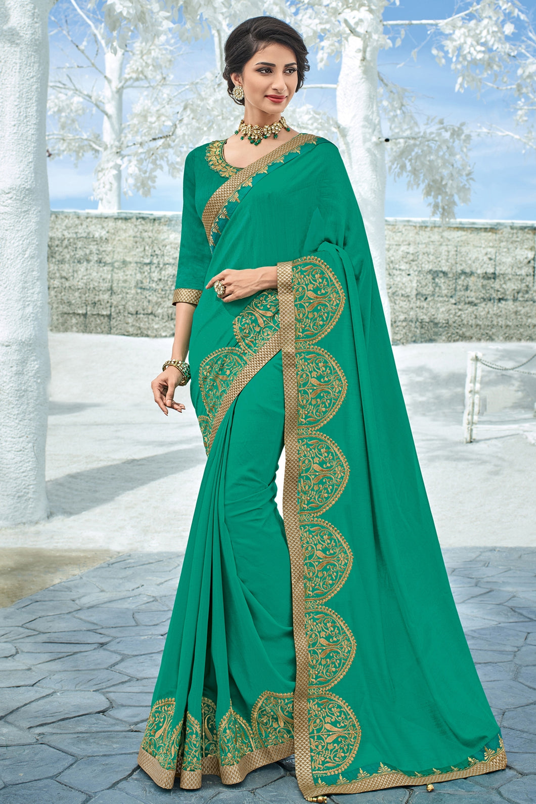 Bhelpuri Green Raw Silk Embroidered Lace Border Designer Party Wear Saree with Embroidered Raw Silk Blouse Piece
