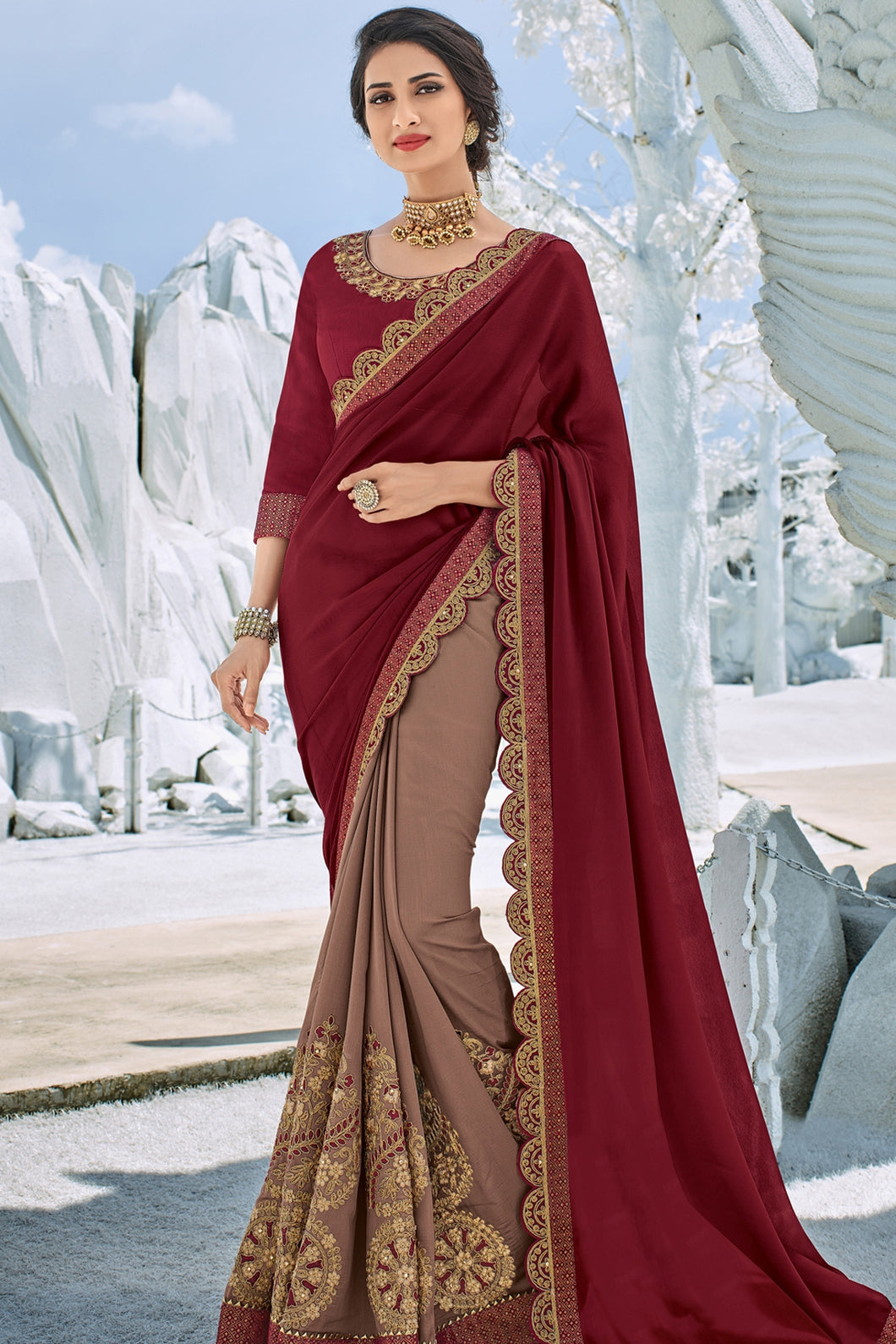 Bhelpuri Maroon and Brown Georgette And Silk Embroidered Designer Party Wear Saree with Embroidered Raw Silk Blouse Piece