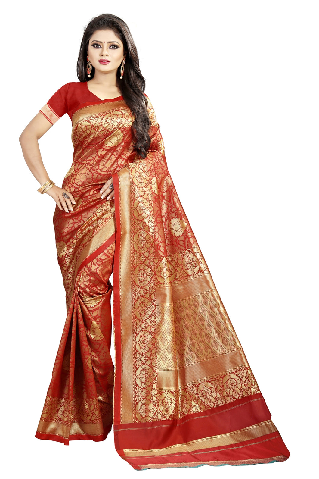 Bhelpuri Maroon Cotton and Jacquard Woven Saree with Blouse Piece