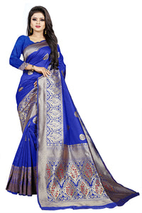 Bhelpuri Blue Cotton and Jacquard Woven Saree with Blouse Piece