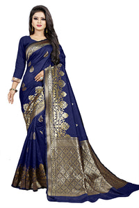 Bhelpuri Navy Blue Cotton and Jacquard Woven Saree with Blouse Piece
