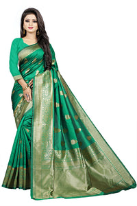 Bhelpuri Green Cotton and Jacquard Woven Saree with Blouse Piece
