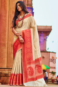 Bhelpuri Beige & Red Silk Saree