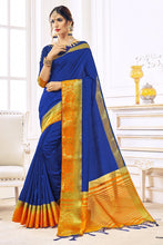Load image into Gallery viewer, Bhelpuri Blue Nylon Silk Designer Woven Saree with Nylon Silk Blouse Piece