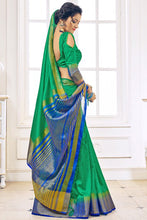 Load image into Gallery viewer, Bhelpuri Green Nylon Silk Designer Woven Saree with Nylon Silk Blouse Piece