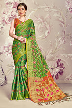 Load image into Gallery viewer, Bhelpuri Green Banarasi Silk Tassel Woven Saree with Red Banarasi Silk Blouse Piece
