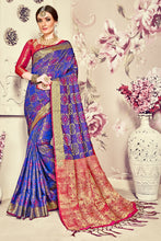 Load image into Gallery viewer, Bhelpuri Blue Banarasi Silk Tassel Woven Saree with Red Banarasi Silk Blouse Piece