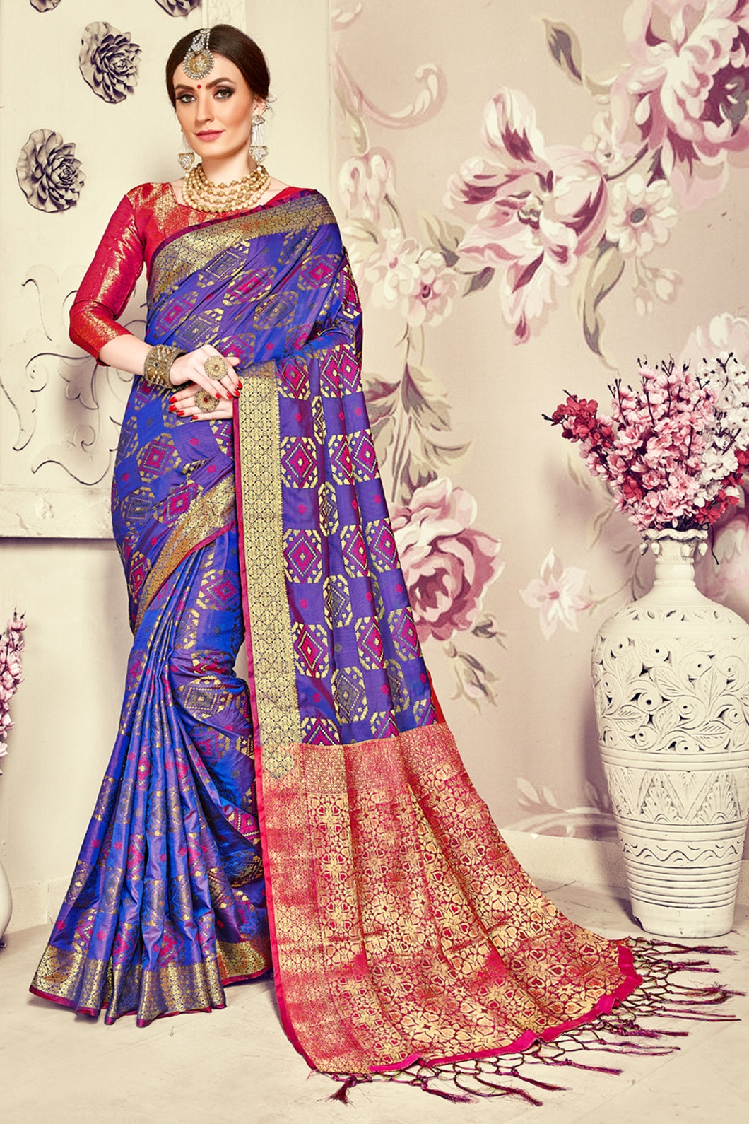 Bhelpuri Blue Banarasi Silk Tassel Woven Saree with Red Banarasi Silk Blouse Piece