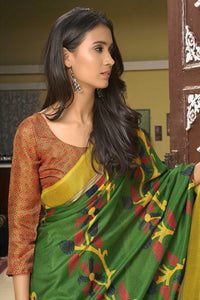 Bhelpuri Multi Coloured Cotton Linen Saree