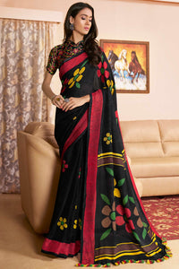 Bhelpuri Black Cotton Linen Saree