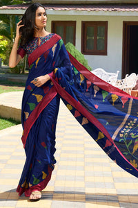 Bhelpuri Blue Cotton Linen Saree