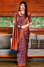 Load image into Gallery viewer, Bhelpuri Blue & Red Banarasi Silk Saree