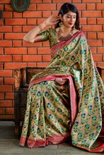 Load image into Gallery viewer, Bhelpuri Golden & Red Banarasi Silk Saree