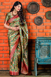 Bhelpuri Golden & Red Banarasi Silk Saree