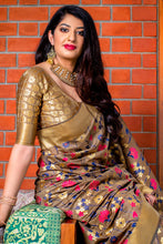 Load image into Gallery viewer, Bhelpuri Beige Banarasi Silk Saree