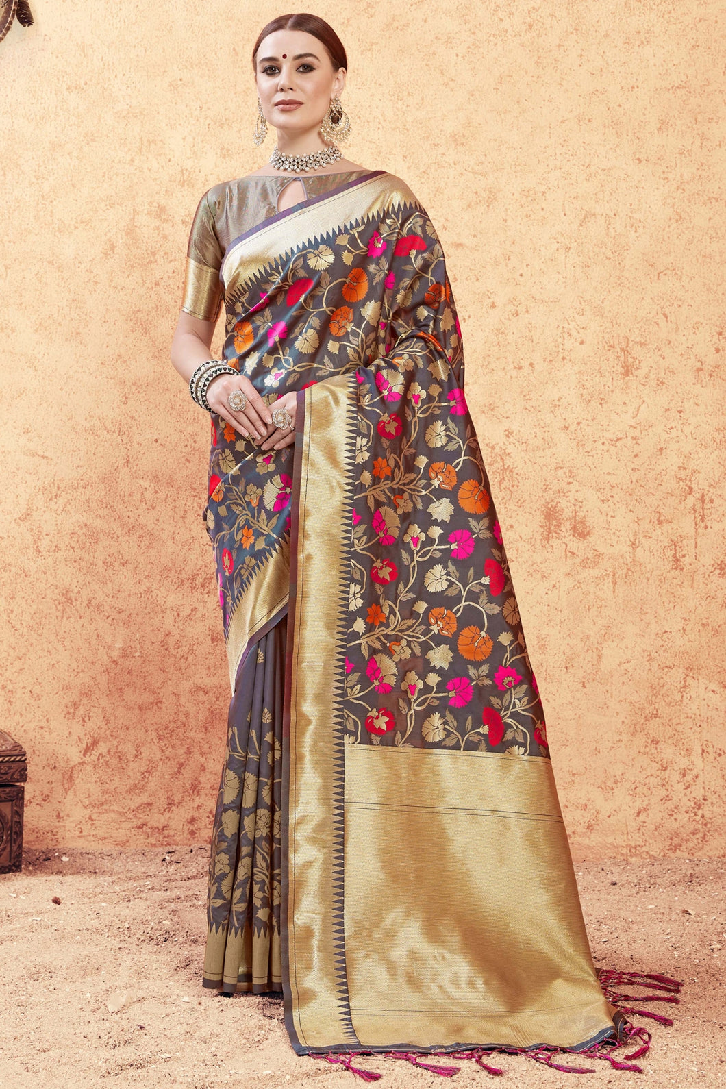 Bhelpuri Multi Colour Banarasi Silk Saree
